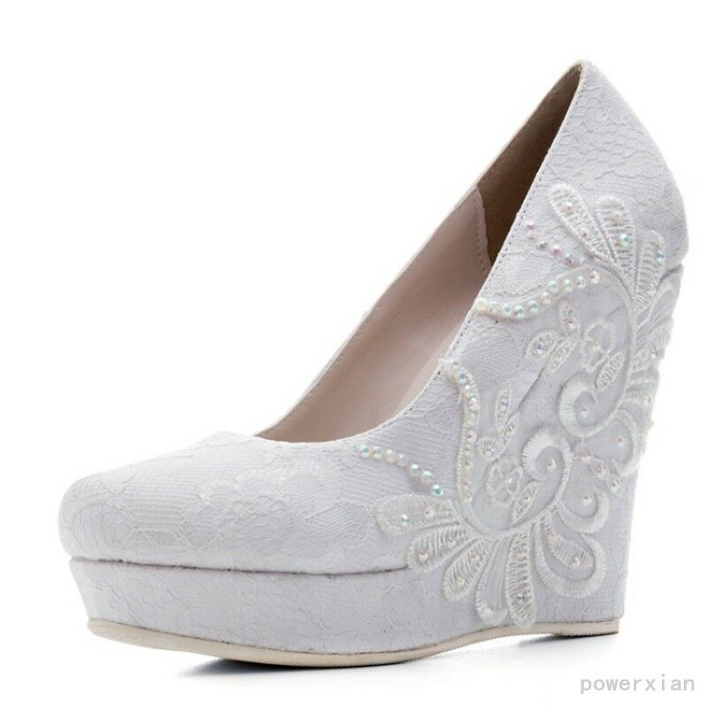 Donna Platform Wedge High Heels White Wedding Shoes Pumps Bridal Shoes Wedding