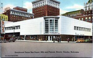 Omaha-Nebraska-Greyhound-Union-Bus-Depot-18th-Farnam-Streets-Linen-Postcard