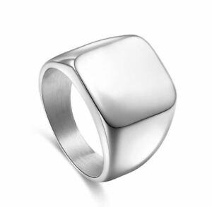 Bague-chevaliere-Ring-Lisse-pour-Homme-034-Carre-Business-034-Argent-Modele-52