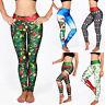 Womens 3D Printed Christmas Xmas Leggings Stretch Skinny Pants Trousers Bottom