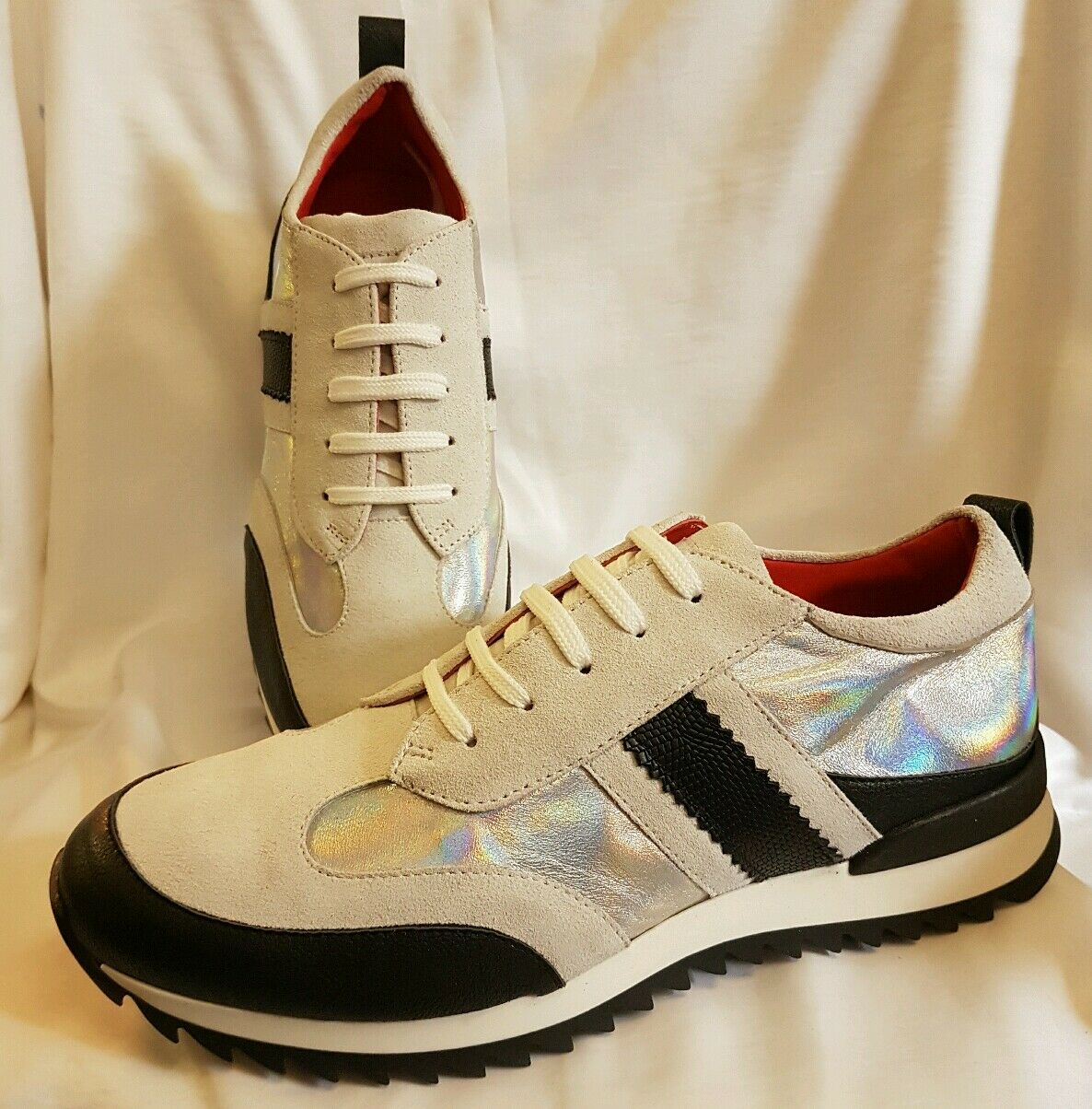 Schuhe Herren Sneaker Turnschuhe Grau silber Gr 43 Made in Italy