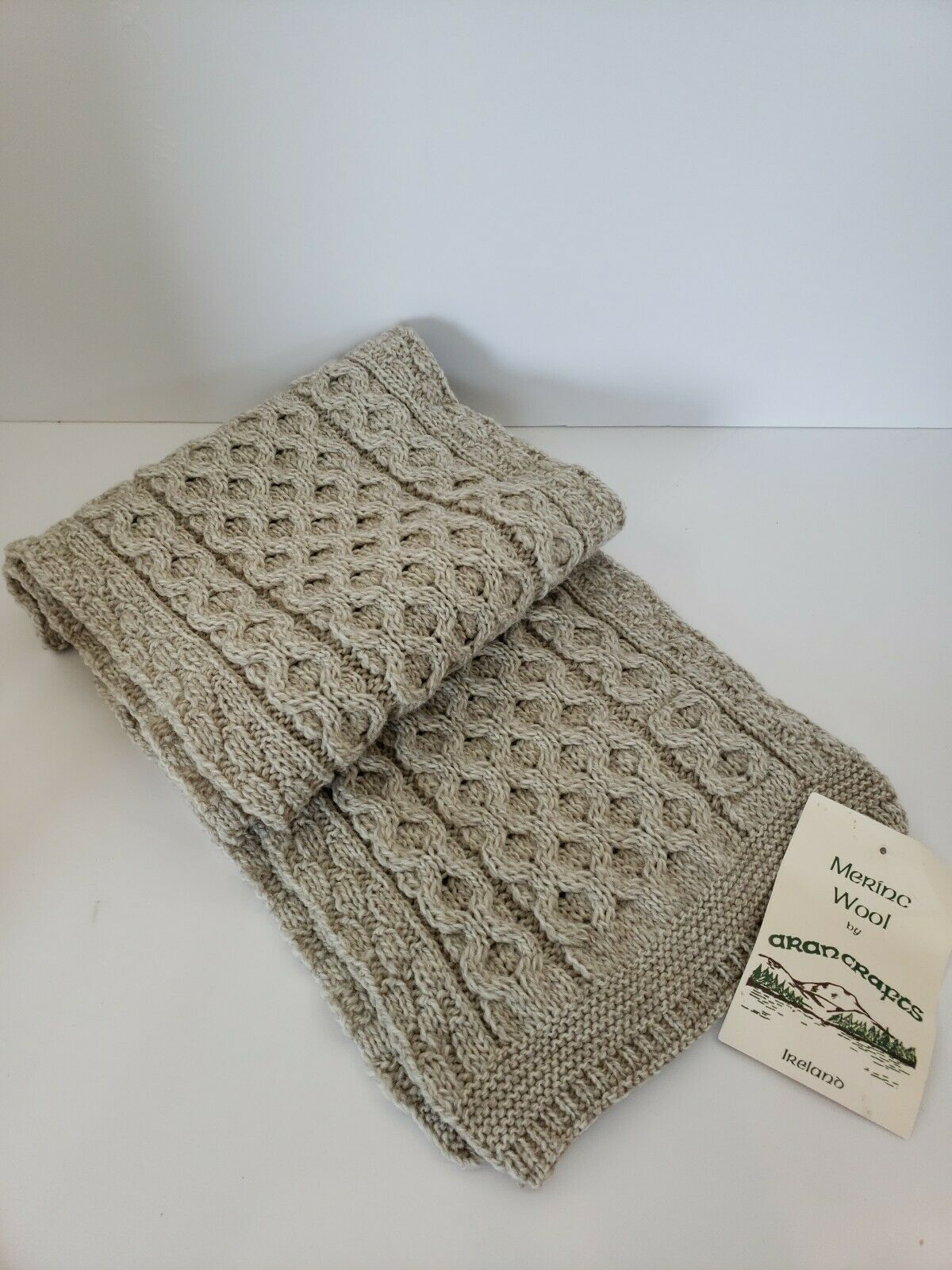 Aran Crafts scarf   100% Merino Wool Scarf Made in Ireland. New with tags