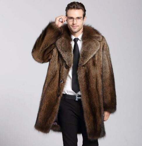 100/% Genuine  Fur Thicken Mens Winter Coat Jacket Lapel Parka Outwears Brown
