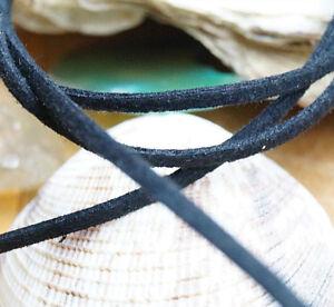 1 m Velourleder Schwarz Eckig Lederband 2,5 x 1 mm Lederriemen Wildleder Flach