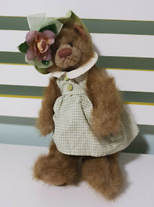 OSWALD-SEALY-TEDDY-BEAR-LADY-WITH-HAT-GREEN-CHECKERED-DRESS-30CM-TOY