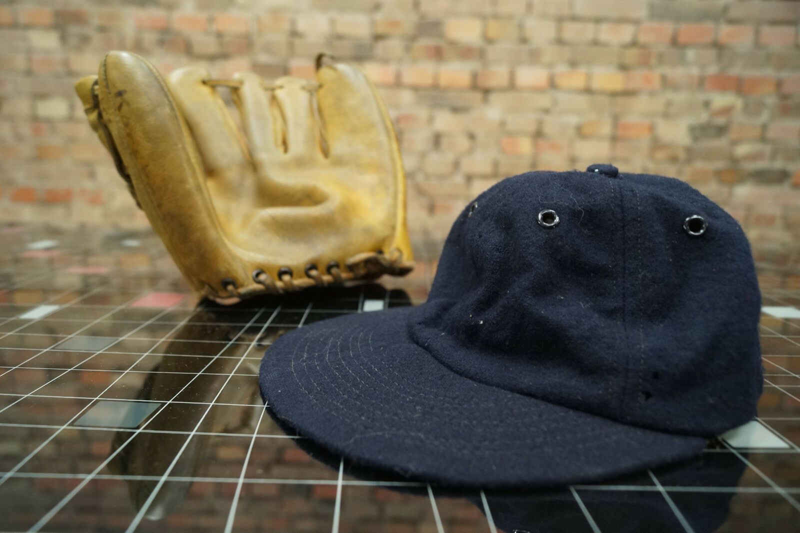 Vintage Baseball Handschuh + Mütze Leder Official League Major League 60er