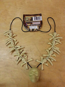 White Teeth Necklace Tribal Voodoo Witch Doctor Skull Pirate Costume Accessory