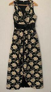 Ted-Baker-elegante-vestido-de-Largo-Maxi-Vestido-Floral-Ted-Talla-3-UK-12-Negro-Crema