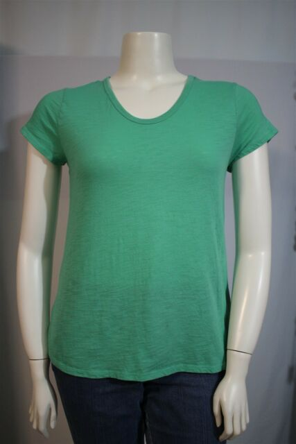 ebf3423cb4a76 Merona Misses LARGE Green Semi Sheer V-neck SS Shirt Top T-shirt