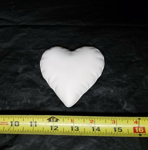 Unpainted Ceramic Bisque 3 Quilted Softee Heart Ready to Paint