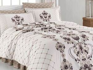bettw sche 200x200 cm bettgarnitur bettbezug baumwolle kissen 5 tlg vintage brau ebay. Black Bedroom Furniture Sets. Home Design Ideas