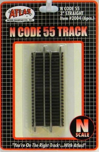"NIB N Atlas #2004 Code 55 3/"" Straight Track 6 Pieces"