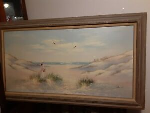 Painting-by-Laura-Keswick-Girl-by-the-Sea-Oil-on-canvas-framed-large-56x30
