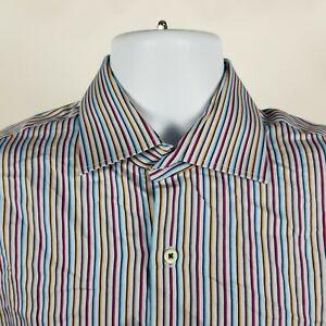 Peter-Millar-Mens-Blue-Red-Multi-Color-Striped-Dress-Button-Shirt-Sz-Medium