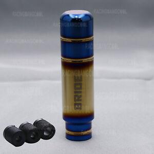 13CM Bride Burnt Blue+Gold Aluminum Gear Shift Knob+Blue Shift Boot