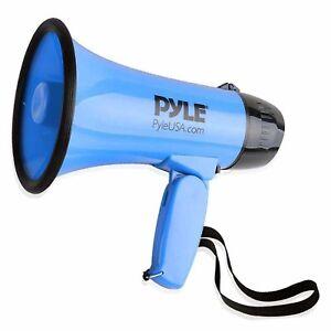 Pyle Compact Portable Megaphone Speaker Siren Bullhorn (Blue)
