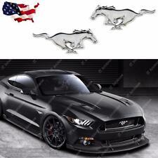 2x Ford Mustang Running Horse Chrome Finish Pony Emblems Side Fender Badge
