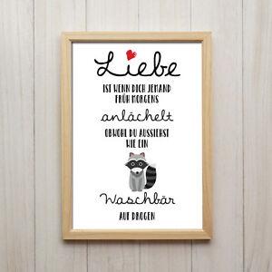 sprüche mit bildern liebe Bild Liebe Spruch Humor Kunstdruck A4 Waschbär Lustige Deko Poster  sprüche mit bildern liebe