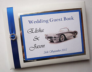 Milestone birthday book Personalised Vintage Car birthday guest book blue