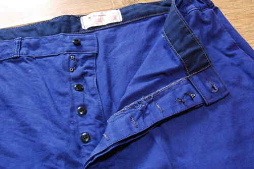 Vintage Blue French Cotton Work Pants Trousers But