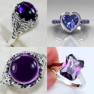 925-Silver-Women-Men-Fashion-Jewelry-Amethyst-Wedding-Bridal-Ring-Size-6-10