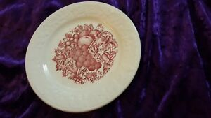 HARVEST USA Bread Plate the Homer Laughlin Vintage Retro Red White  - # A 43 N 6