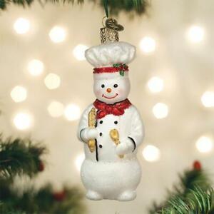Old World Christmas Snowman Chef Baker Glass Christmas Ornament 24184 Ebay