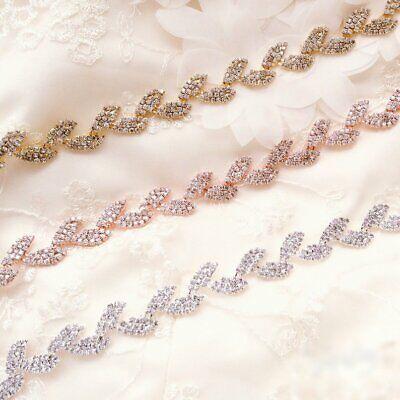 Leaves Rhinestone Rose Gold Chain Trim Wedding Dress Belt Bridal Applique Ebay