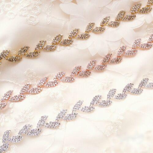 Leaves Rhinestone Rose Gold Chain Trim Wedding Dress Belt Bridal Applique