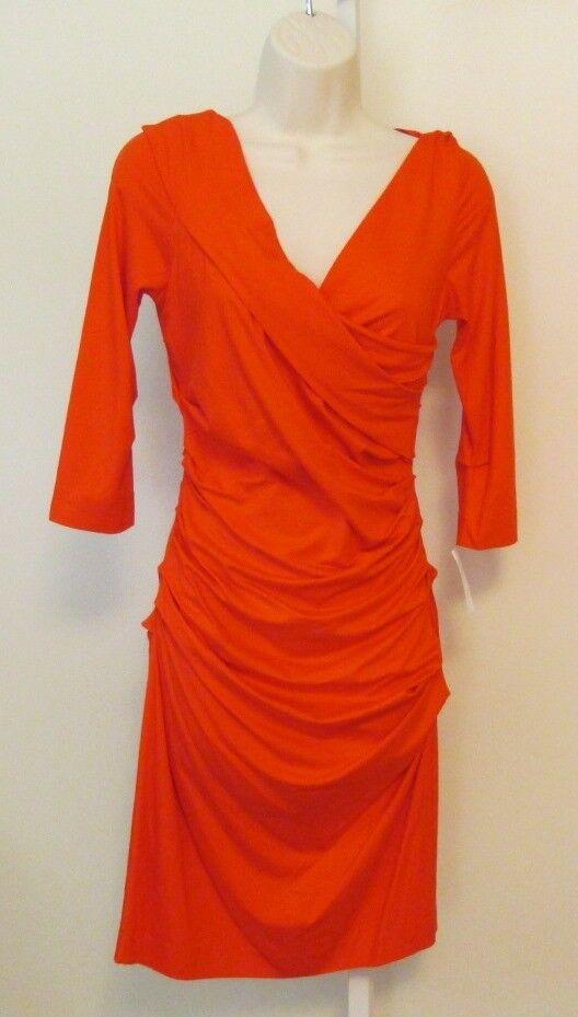 Diane von Furstenberg Bentley blood orange dress DVF M New shift Medium 8 knit