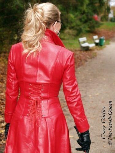 32 Knöchellang Größe Ledermantel Leder Xs Figurbetont Mantel Rot Xxxl 58 wvwqgxYT