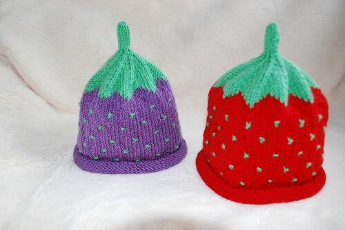Babymütze ein Unikat Früchtemütze Erdbeermütze Blaubeermütze,gestrickte Mütze