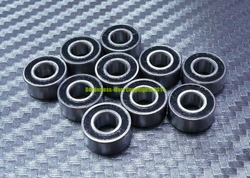 6x17x6 mm Rubber Double Sealed Ball Bearing 606RS 606-2RS 10 Pcs BLACK