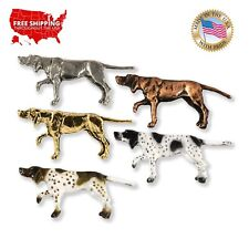 Pointer Dog Pin Badge English Silver Pewter Hunting Hound Brooch in gift pouch