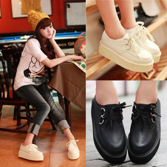 Girls Lady Casual Lace Up Round Toe High Platform Flat Goth Punk Creeper Shoes