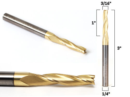 """3//16/"""" Tapered Spiral ZRN Coated CNC Router Bit Yonico 38314-SC 1//4/"""" Shank"""