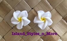 "Hawaiian Plumeria Flower Fimo Fashion Jewelry Post Earring WHITE YELLOW 0.50"" in"