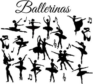 60a727ea1aba3 Die Cut Outs Silhouette dancing ballerina x 15 Shapes craft, scrap ...