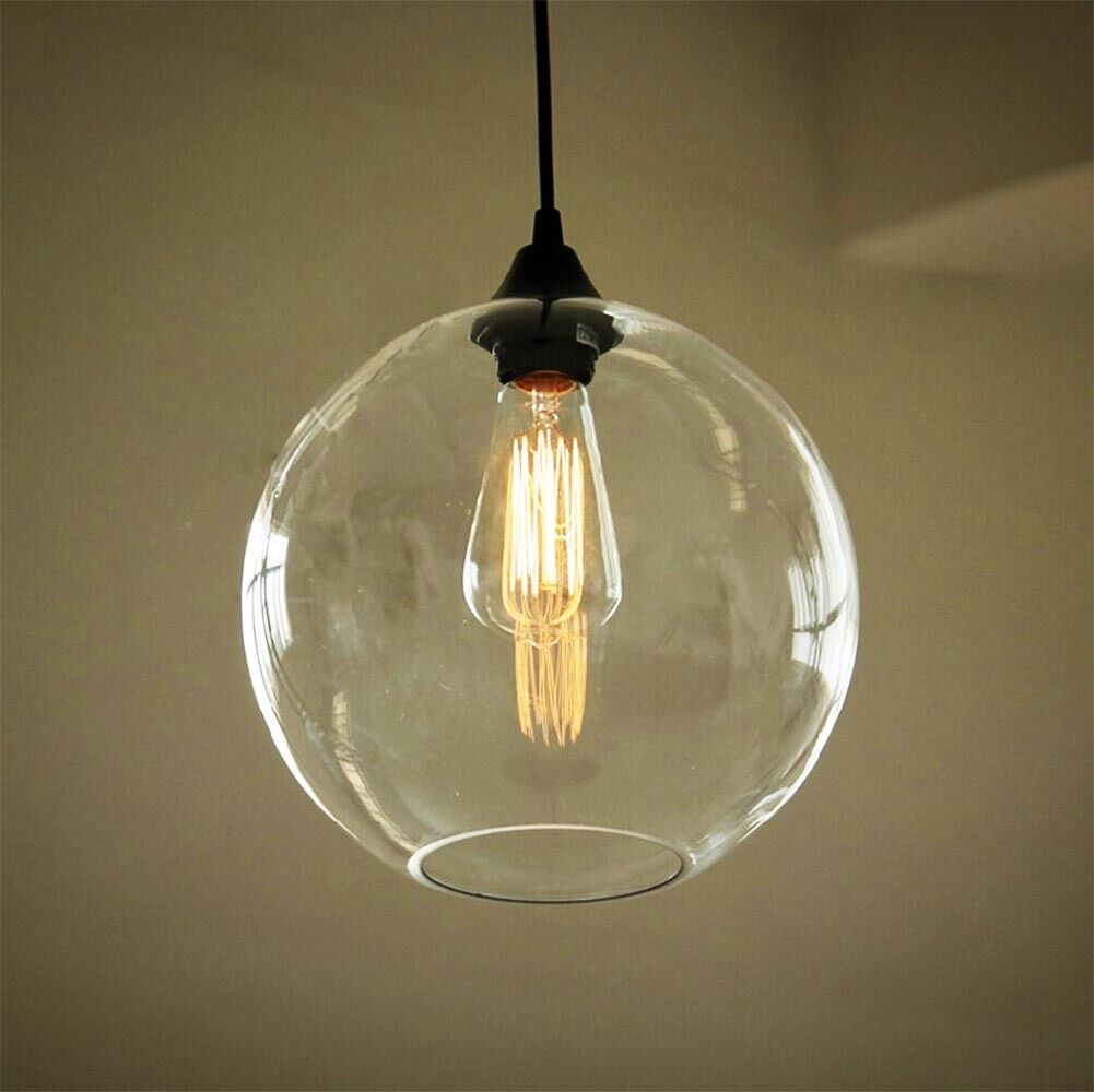 Vintage Industrial Globe Glass Pendant Light Ceiling Lamp Shade Kitchen Fittings Ebay
