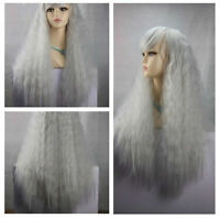 Hot Sell! Lolita Popular fluffy long curly gray Cosplay wig + free cap