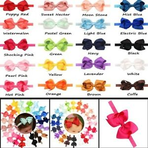 """30Pc Lot Baby Girls 4.5/"""" Hair Bows Headbands for Infant Toddlers Newborn Big Bow"""