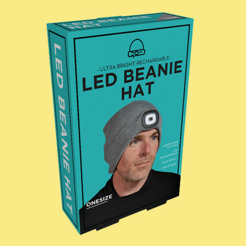 LED Beanie Hat With USB Rechargeable Battery 5 Hours High Powered Light Unisex#K