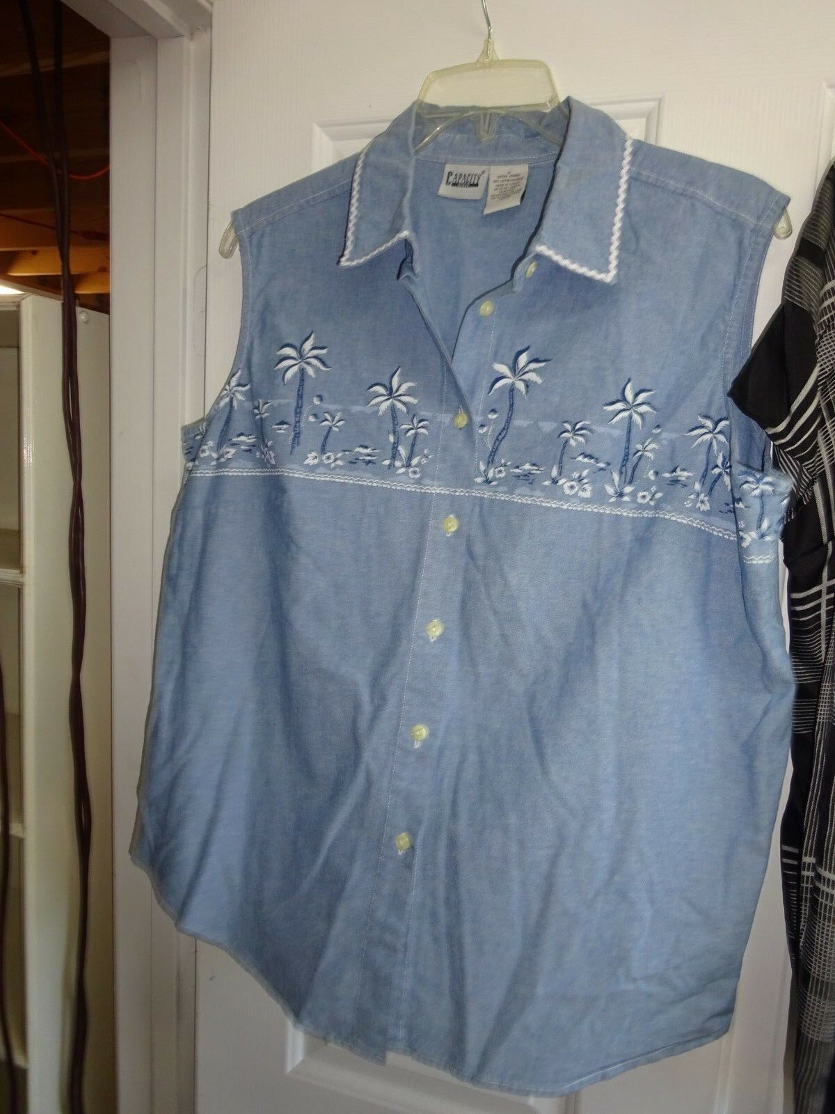 Capacity Women Sleeveless Top Blouse 100% Cotton Faded Denim bluee Palm Trees 1X