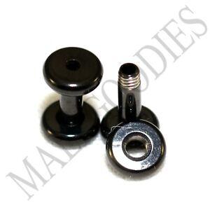 1459-Screw-on-fit-Black-10G-Gauge-2-5mm-Flesh-Tunnels-Ear-Plugs-Earlets-Steel
