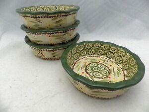 Temp-Tations-by-Tara-Old-World-pattern-Green-set-lot-of-4-small-5-034-bakers