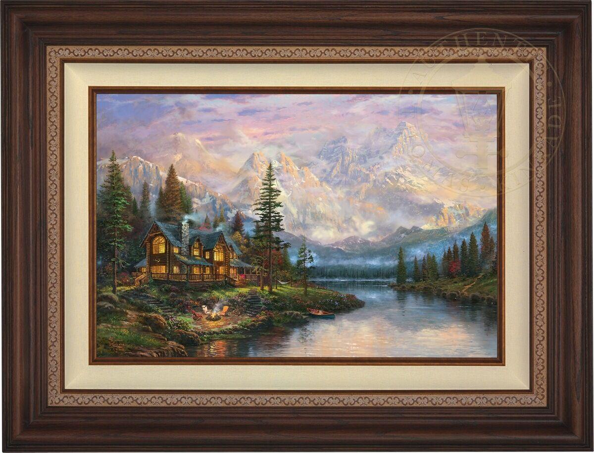 Thomas Kinkade Cathedral Mountain Lodge 18 x 27 LE S N Canvas (Walnut Frame)