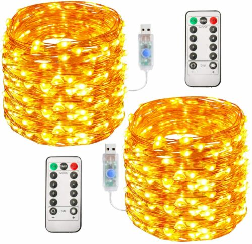 Luces De Cadena 100 LED 33FT Decoraciones Para Navidad El Hogar Navideñas 2 Set
