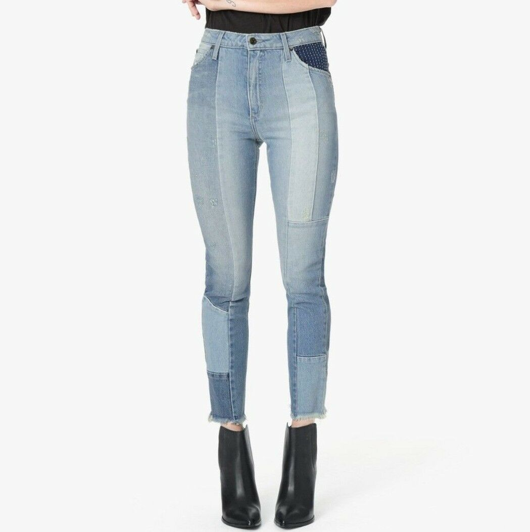 298 NWT JOE'S Sz28 THE BELLA HI-RISE STRAIGHT CROP RAW PATCHWORK JEANS SOFIA