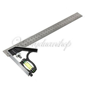 Adjustable-300mm-12-034-Engineers-Combination-Try-Square-Set-Angle-Spirit-Level-F