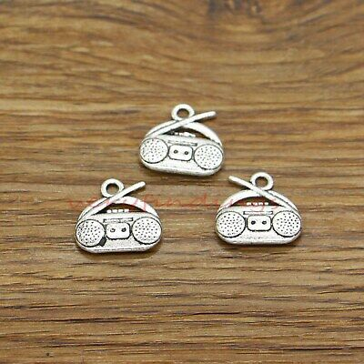 24pcs Musical Instruments Theme Pendant Antique Silver Charms Jewelry 17~35mm